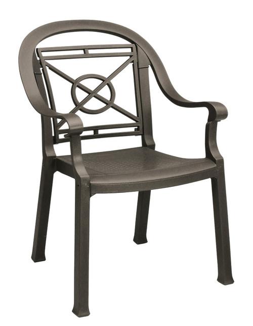 Grosfillex - Victoria Bronze Mist Outdoor Stacking Armchair