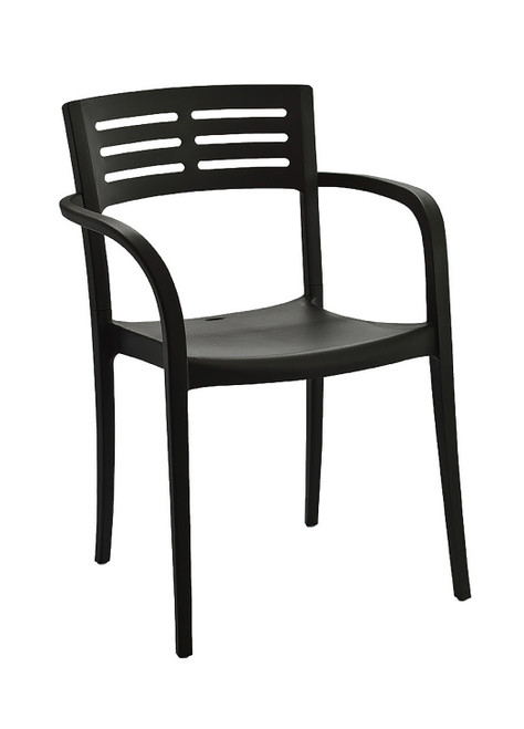 Grosfillex - Vogue Black Outdoor Stacking Armchair