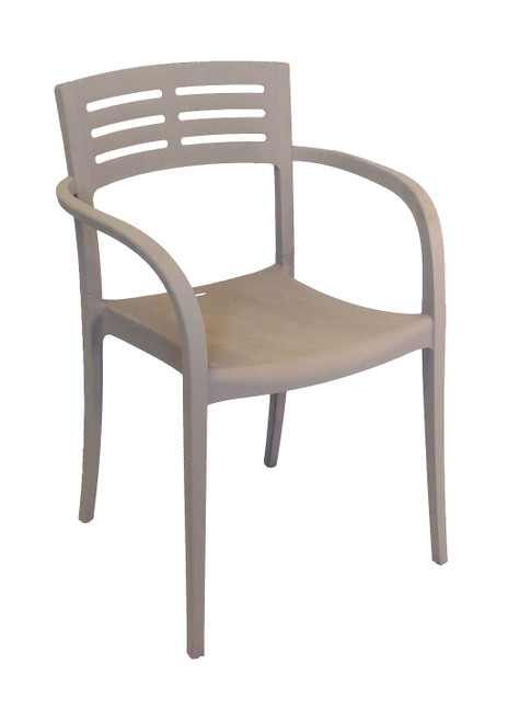 Grosfillex - Vogue French Taupe Outdoor Stacking Armchair