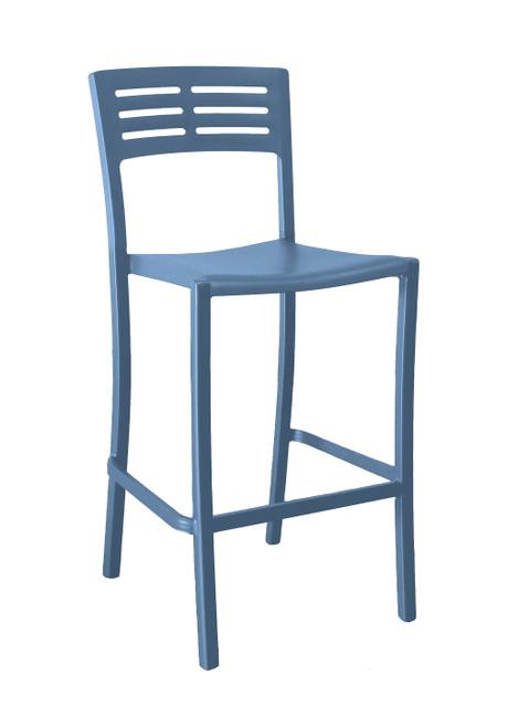 Grosfillex - Vogue Denim Blue Outdoor Stacking Barstool