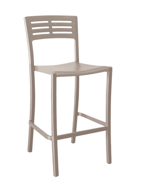 Grosfillex - Vogue French Taupe Outdoor Stacking Barstool