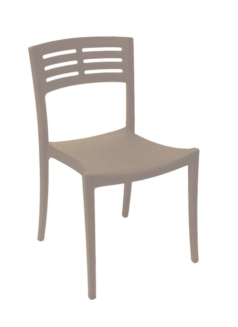 Grosfillex - Vogue French Taupe Outdoor Stacking Sidechair