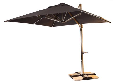 Grosfillex - Windmaster 10' Charcoal Cantilever Recacril® Fabric Square Umbrella
