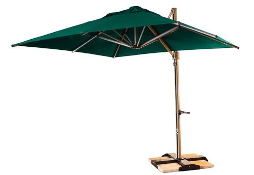 Grosfillex - Windmaster 10' Forest Green Cantilever Recacril® Fabric Square Umbrella
