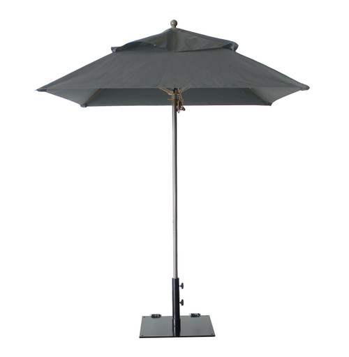 Grosfillex - Windmaster 6.5' Charcoal Gray Recacril® Fabric Square Umbrella