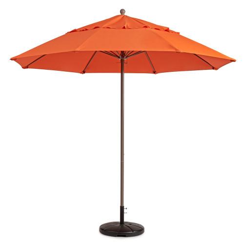 Grosfillex - Windmaster 9' Orange Recacril® Fabric Round Umbrella