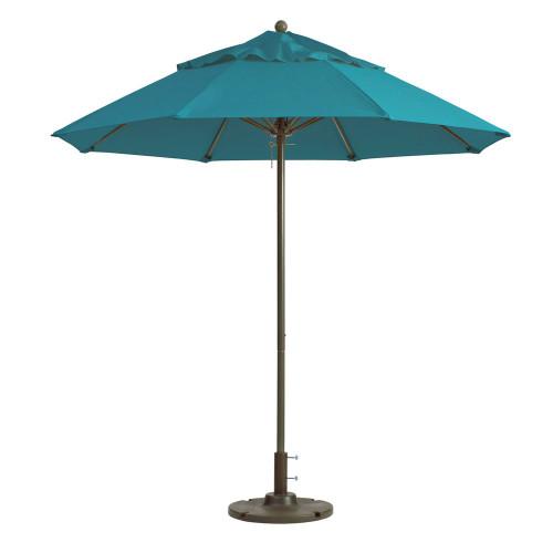 Grosfillex - Windmaster 9' Turquoise Recacril® Fabric Round Umbrella