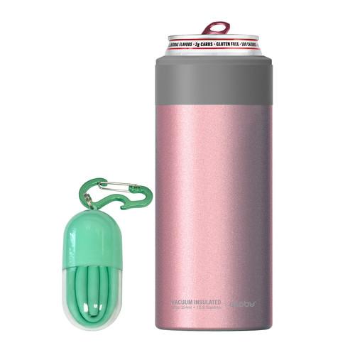 Asobu - Pink Insulated Slim Can Kuzie (Fits 12 Oz Slim Cans)