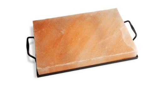 """Outset - 12"""" x 8"""" Natural Himalayan Salt Block Cooking Plate With Tray"""