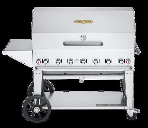 "Crown Verity - 48"" Natural Gas BBQ With Endshelf & Bun Rack"