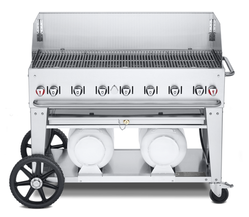 """Crown Verity - Club Series 48"""" Liquid Propane Mobile Outdoor Grill With Windguard"""