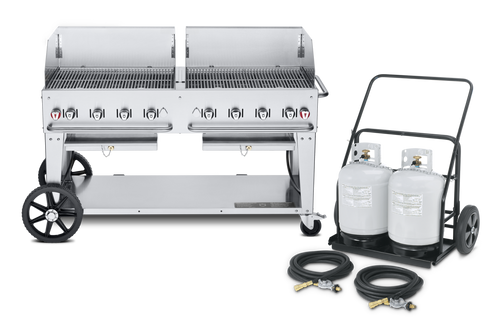 """Crown Verity - Club Series 60"""" Liquid Propane Mobile Outdoor Grill With Remote Propane Tank Cart & Windguard"""