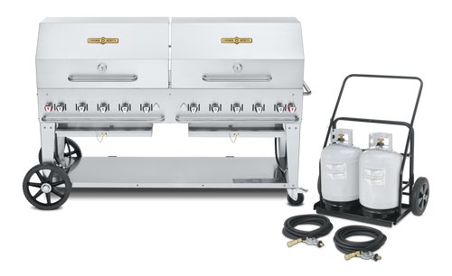 """Crown Verity - Club Series 72"""" Liquid Propane BBQ With 2 Roll Domes & Remote Propane Cart"""