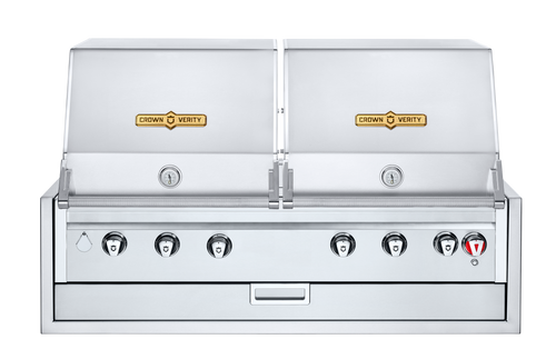 """Crown Verity - 48"""" Liquid Propane Infinite Series Built In BBQ With 2 Roll Domes"""
