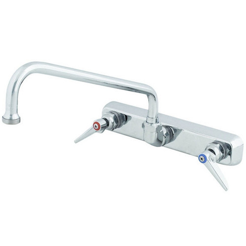 """T&S Brass - Wall Mounted Faucet w/ 12"""" Swing Spout 8"""" Centers - B-1128"""