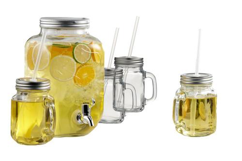 ICM - 5pc Mason Jar Dispenser and Glasses