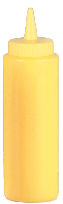 Winco - 16 Oz. Wide Mouth Yellow Plastic Squeeze Bottle - 6912