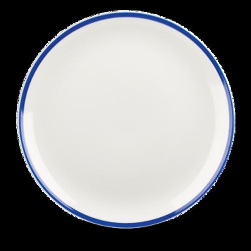 "Churchill - Retro Blue 11.25"" White with Blue Rim Round Coupe Plate - 12/Case"
