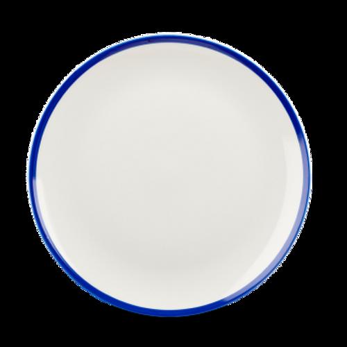 "Churchill - Retro Blue 10.25""  White with Blue Rim Round Coupe Plate - 12/Case"