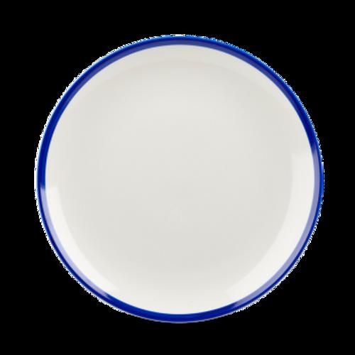 "Churchill - Retro Blue 8.66"" White with Blue Rim Round Coupe Plate - 12/Case"