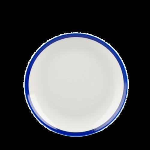 "Churchill - Retro Blue 6.5"" White with Blue Rim Round Coupe Plate - 12/Case"