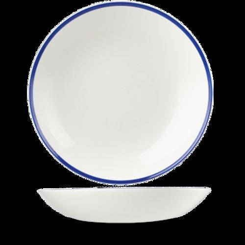Churchill - Retro Blue 84.5 oz White with Blue Rim Round Coupe Bowl  - 6/Case
