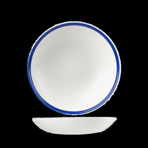 Churchill - Retro Blue 15 oz White with Blue Rim Round Coupe Bowl  - 12/Case