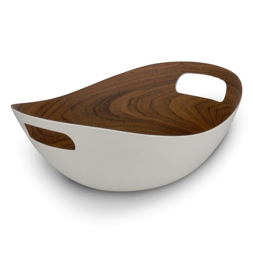 "ICM - 12"" White Walnut Bamboo Salad Serving Basket"