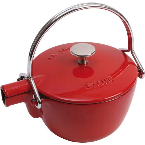 Staub - 1.1 L (1.16 QT) Cherry Red Cast Iron Teapot