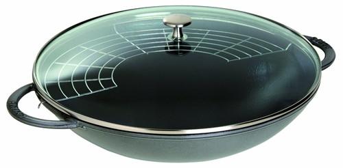 "Staub - 5.7 L (6 QT) 14"" Grey Wok with Glass Lid"