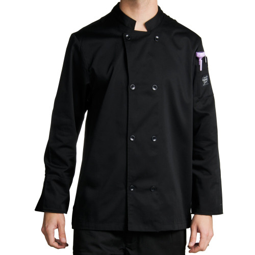 Chef Revival - Medium Black Double Breasted Chef Coat  - 21191