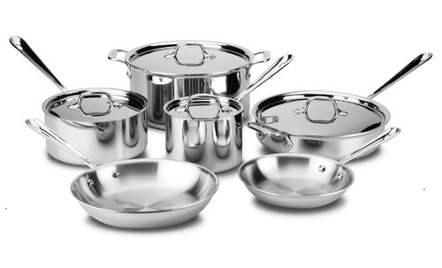 All-Clad - 10 Pc Stainless Cookware Set - 401488