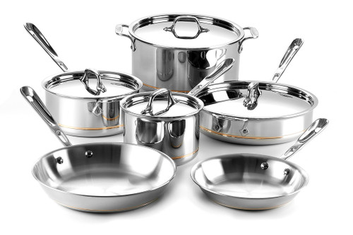 All-Clad - 10 Pc Copper Core Cookware Set - 600822 SS