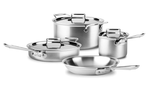 All-Clad - 7 Pc d5 Brushed Stainless Cookware Set - BD5501464