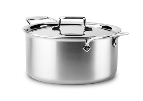 All-Clad - 8 QT d5 Brushed Stainless Stock Pot with Lid - BD55508