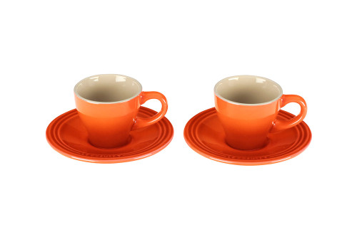Le Creuset - Flame Espresso Cups and Saucers - Set of 2