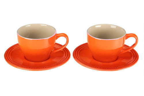 Le Creuset - Flame Cappuccino Cups and Saucers - Set of 2