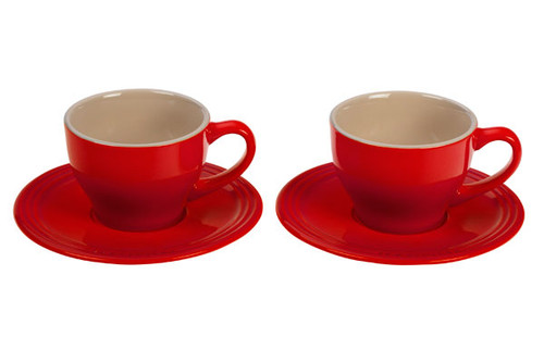 Le Creuset - Cherry Cappuccino Cups and Saucers - Set of 2