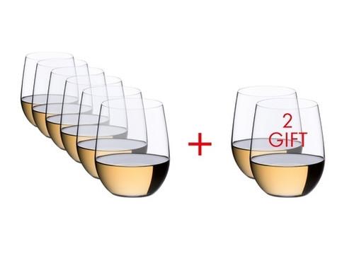 "Riedel - ""O"" Series Chardonnay Wine Glasses Buy 6 Get 8"