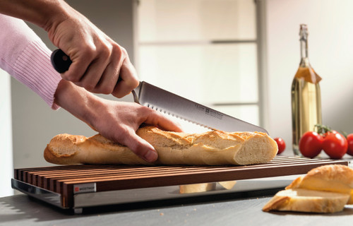 """Wusthof - Thermo Beech Bread Cutting Board With Stainless Steel Tray 15.75"""" x 9.5"""" x 1"""" - 7292"""