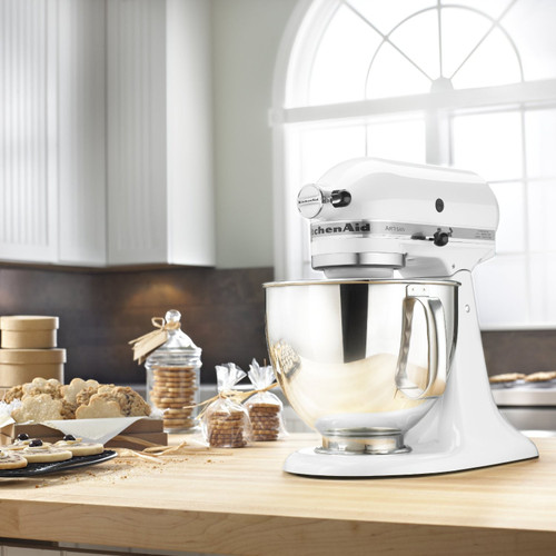 KitchenAid - White 5QT Artisan Series Tilt Head Stand Mixer - KSM150PSWH