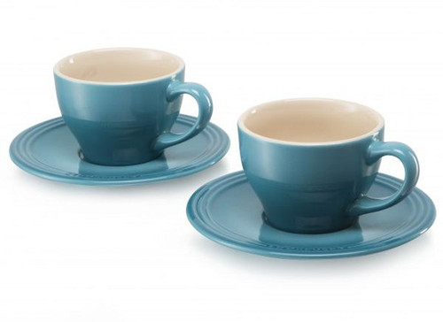 Le Creuset - Caribbean Cappuccino Cups and Saucers - Set of 2