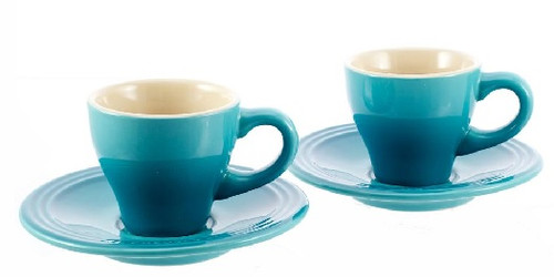 Le Creuset - Caribbean Espresso Cups and Saucers - Set of 2