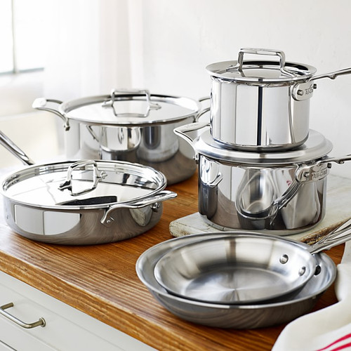 All-Clad - 10 Pc d5 Polished Stainless Cookware Set - SD501010-R