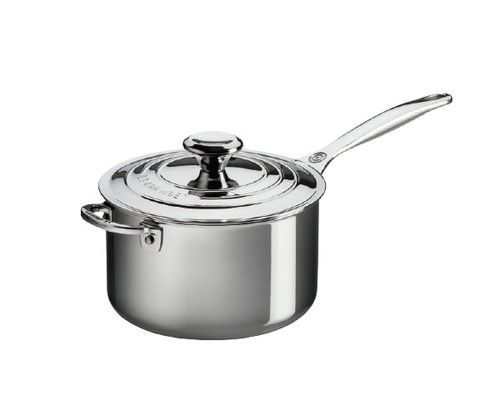 Le Creuset - 3.8 L (4 QT) Stainless Steel Saucepan with Lid