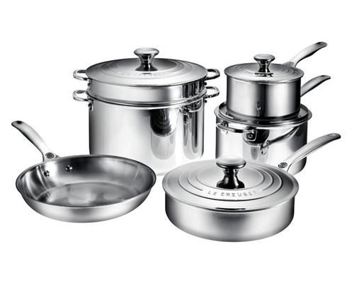 Le Creuset - 10 Piece Stainless Steel Cookware Set