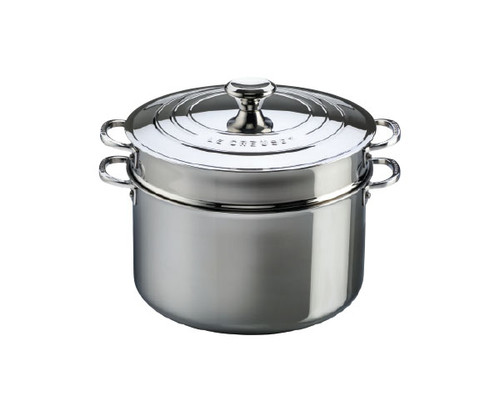 Le Creuset - 8.5 L (9 QT) Stainless Steel Stockpot with Lid and Pasta Insert