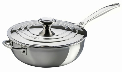 Le Creuset - 1.9 L (2 Qt) Stainless Steel Saucier - Chef's Pan With Lid