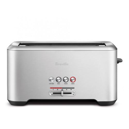 Breville - Die-Cast Bit More 4-Slice Long Shot Stainless Steel Toaster - BREBTA730XL