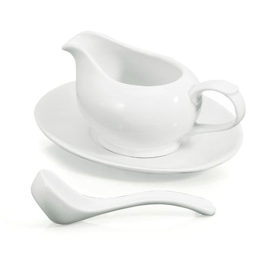 Danesco - White Porcelain Gravy Boat & Saucer